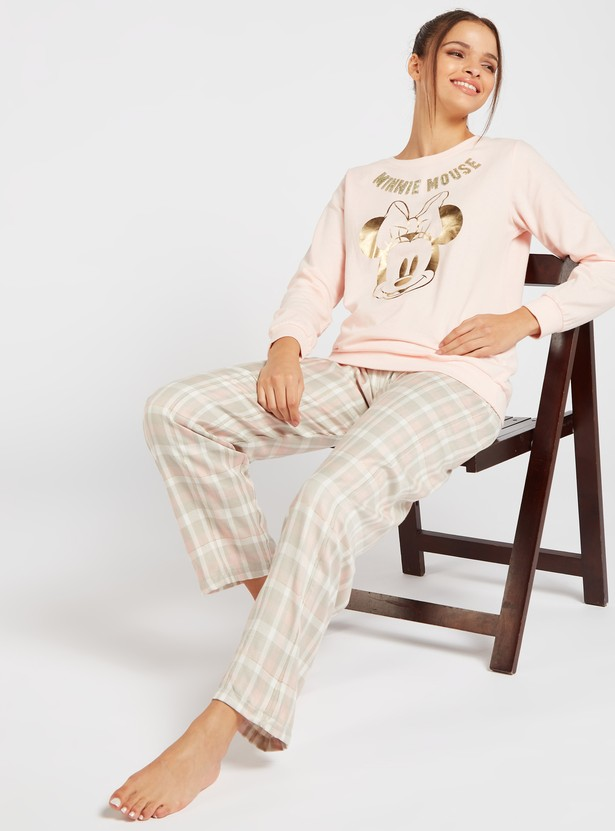 Minnie Mouse Print Long Sleeves T-shirt and Full Length Pyjama Set