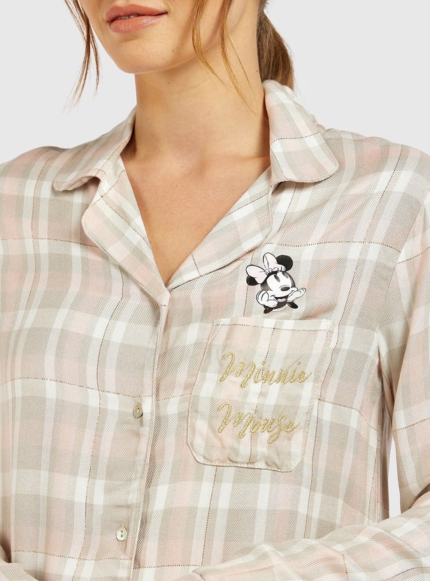 Minnie Mouse Collared Sleepshirt with Long Sleeves and Button Closure