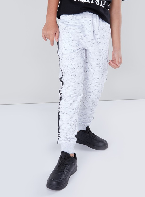 Printed Jogger Pants with Drawstring Closure and Tape Detail