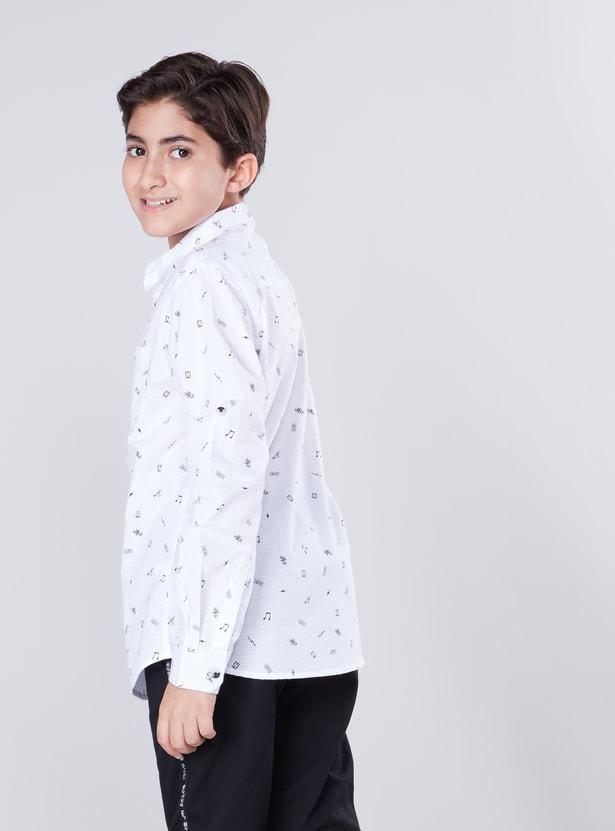 Printed Shirt with Mandarin Collar and Long Sleeves