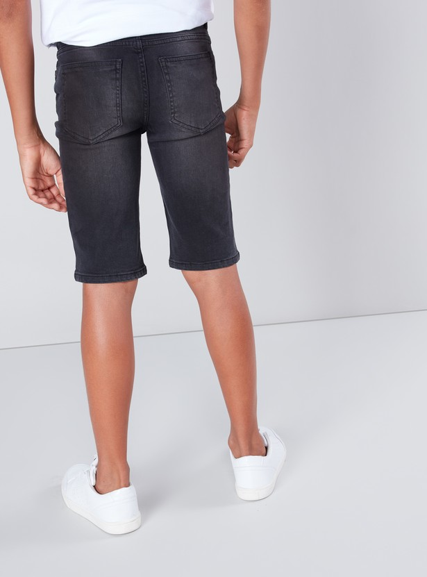 Denim Shorts with Pocket Detail and Belt Loops