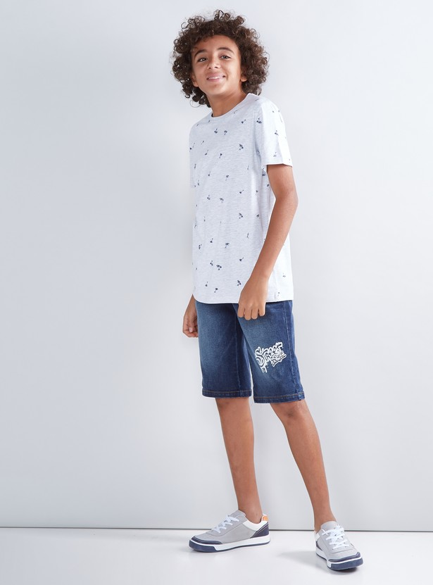 Printed Shorts with Applique and Pocket Detail