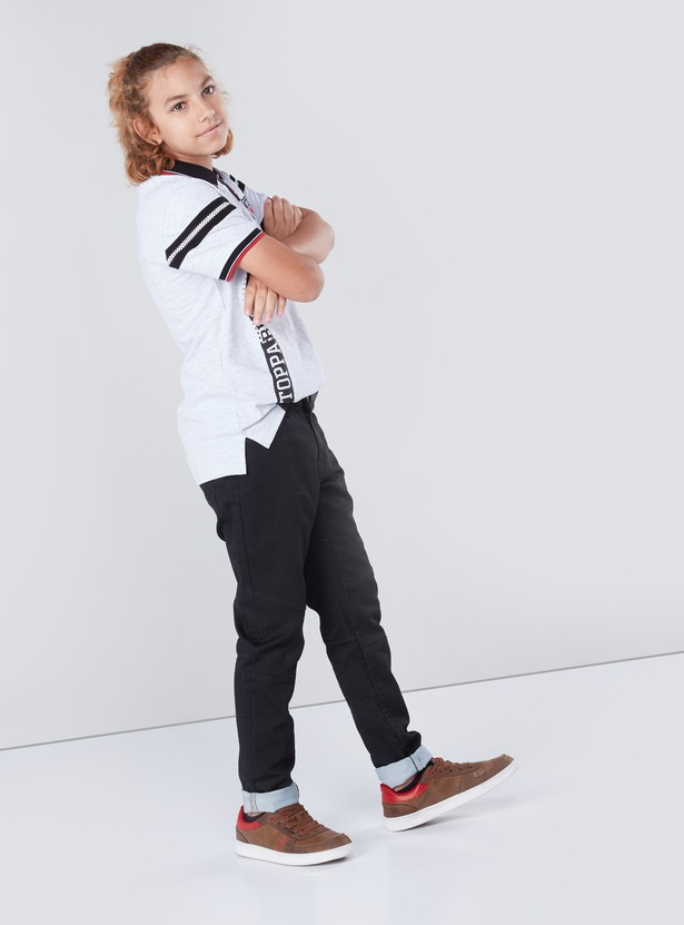 Printed High-Low Zippered Polo T-shirt with Short Sleeves