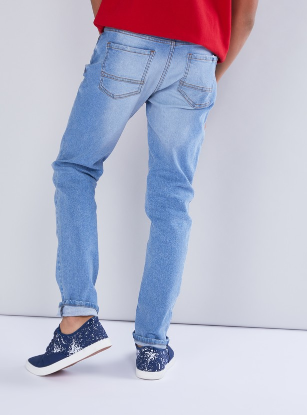 Full Length Jeans with Pocket Detail and Zip Fly