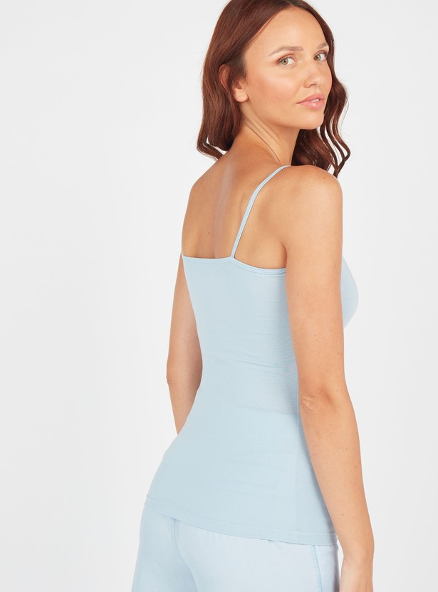 Solid Camisole with Spaghetti Straps and Scoop Neck
