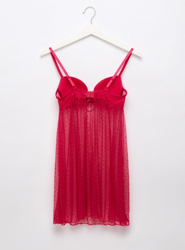 Textured Sleeveless Baby Doll Dress with Thongs