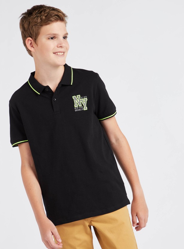 Embroidered Polo Shirt with Collared Neck and Short Sleeves