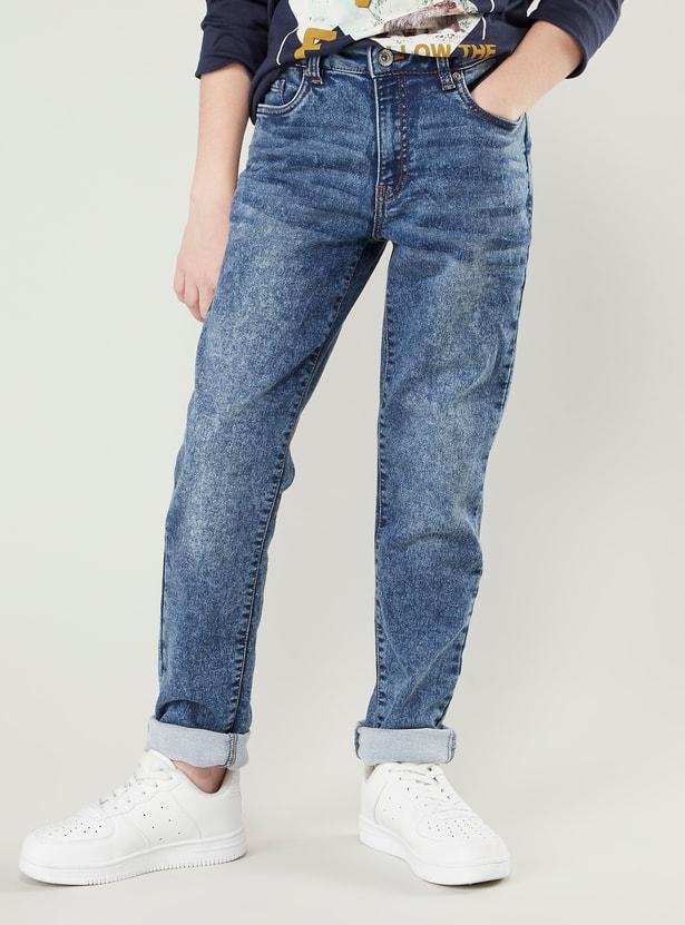 بنطلون جينز طويل بتفاصيل جيوب