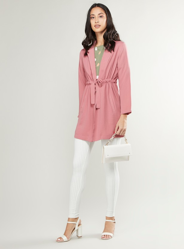 Plain Jacket with Long Sleeves and Tie Ups