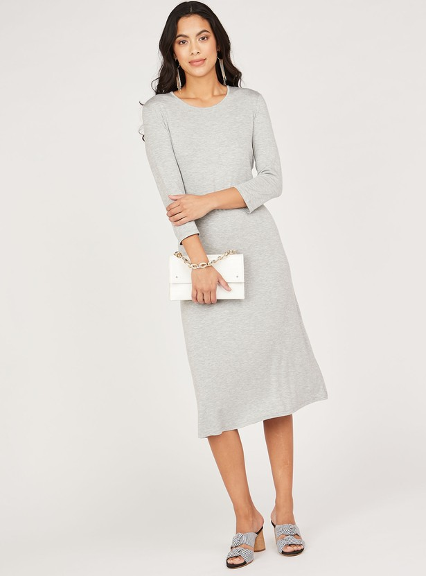 Solid Round Neck Shift Midi Dress with 3/4 Sleeves