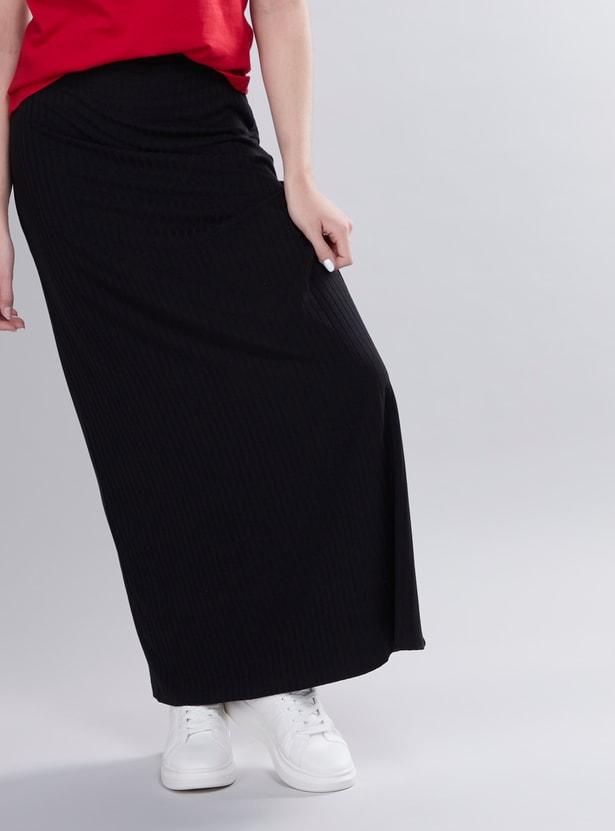 Textured A-line Maxi Skirt