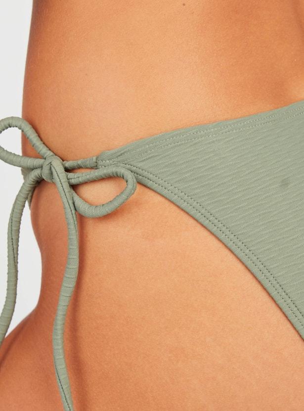 Textured High Leg Bikini Briefs with Tie Ups
