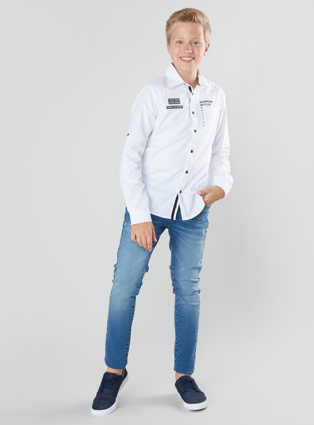 Printed Shirt with Long Sleeves and Button Tab