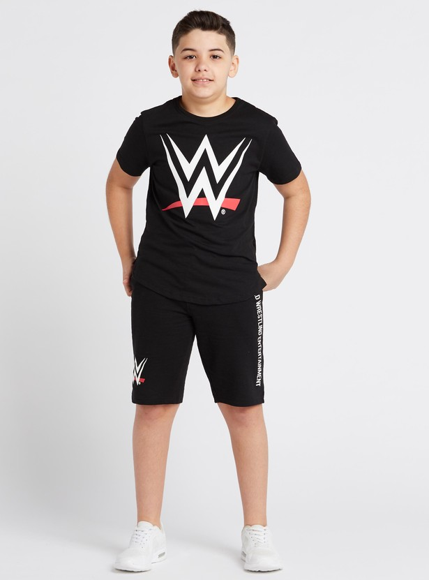WWE Print Round Neck T-shirt with Short Sleeves