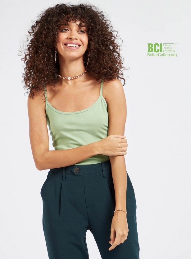 Solid Camisole with Round Neck