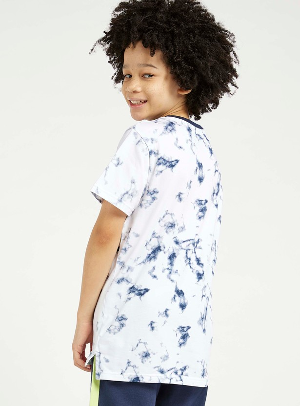 Marble Print T-shirt with Crew Neck and Short Sleeves