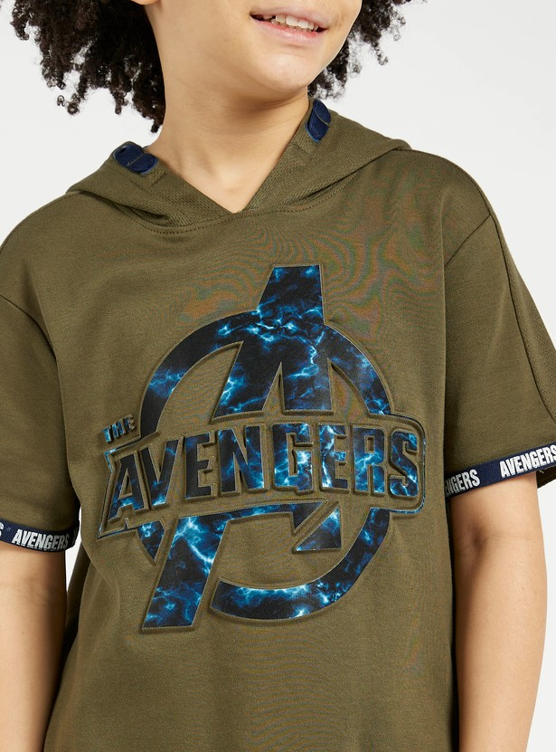 Avengers Embossed Print Hoodie with Short Sleeves