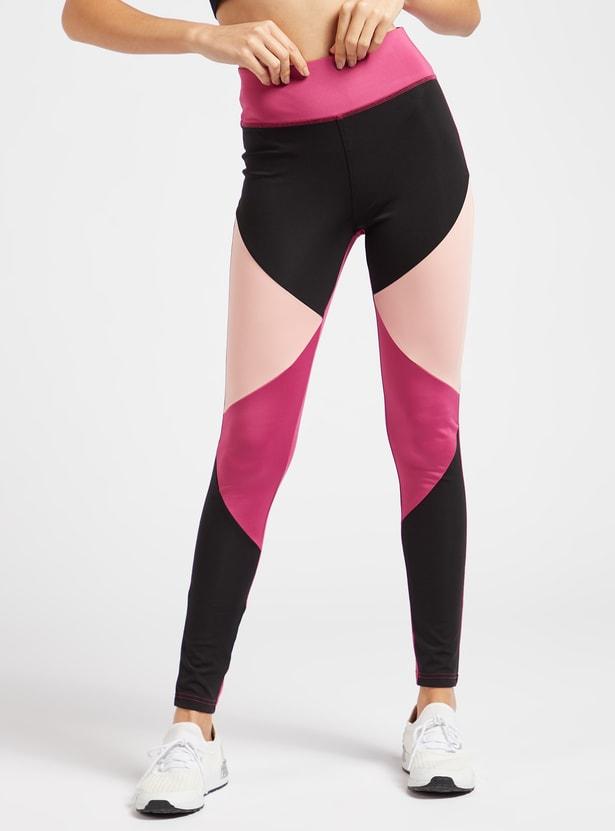 Colour Block Leggings with Elasticised Waistband