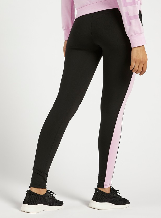 Slim Fit Colour Block Leggings with Elasticised Waistband