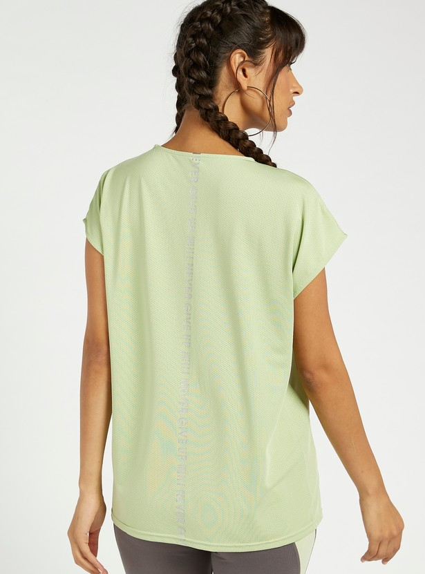 Printed Mesh Detailed T-shirt with Extended Cap Sleeves