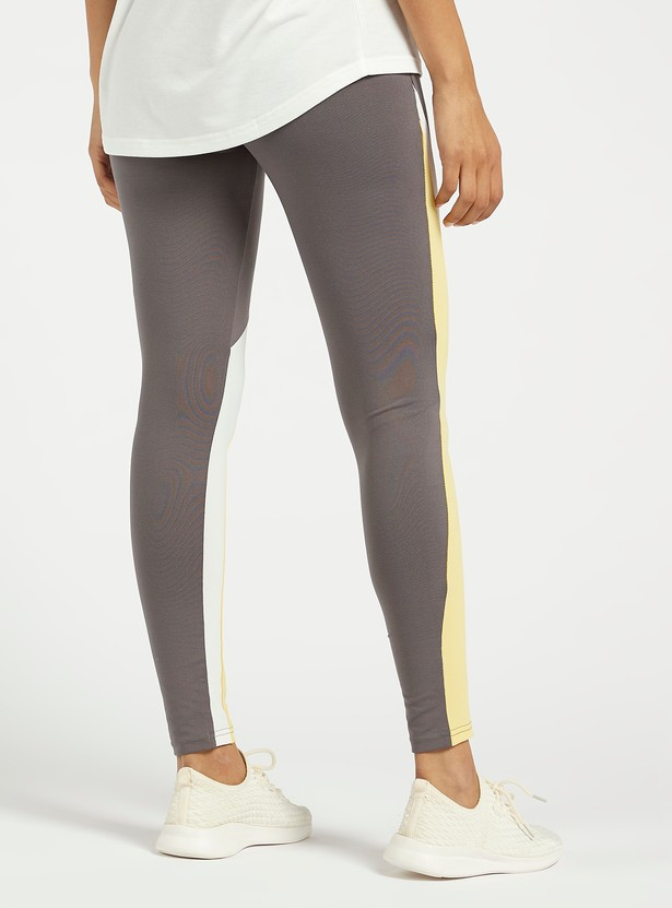 Colourblocked Slim Fit Leggings with Panels and Elasticated Waistband