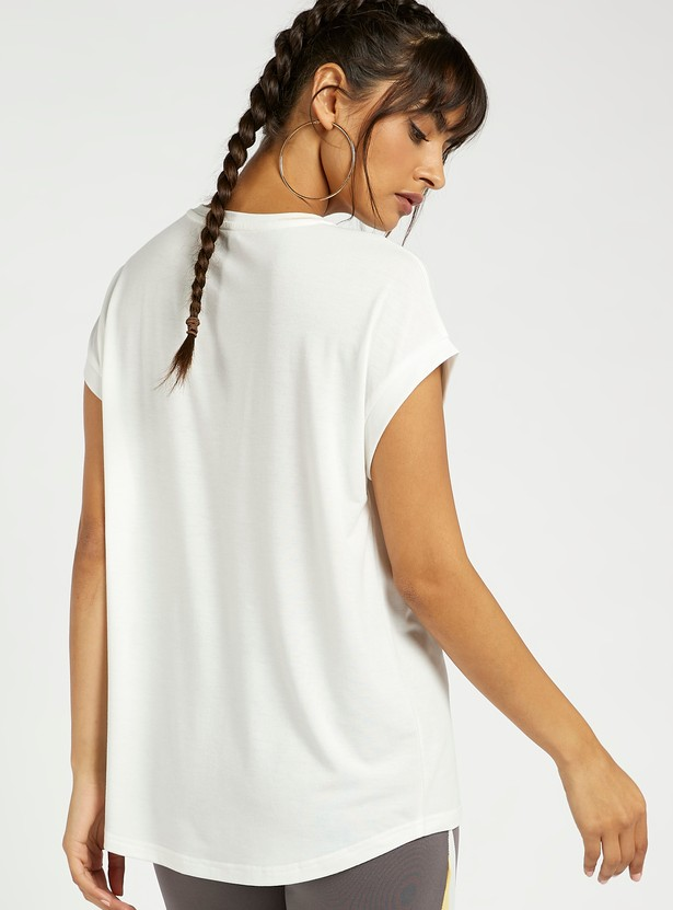 Printed Crew Neck T-shirt with Cap Sleeves