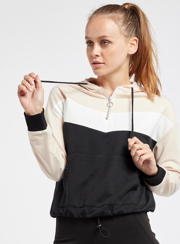 Colourblock Hoodie with Long Sleeves and Half Zip Closure