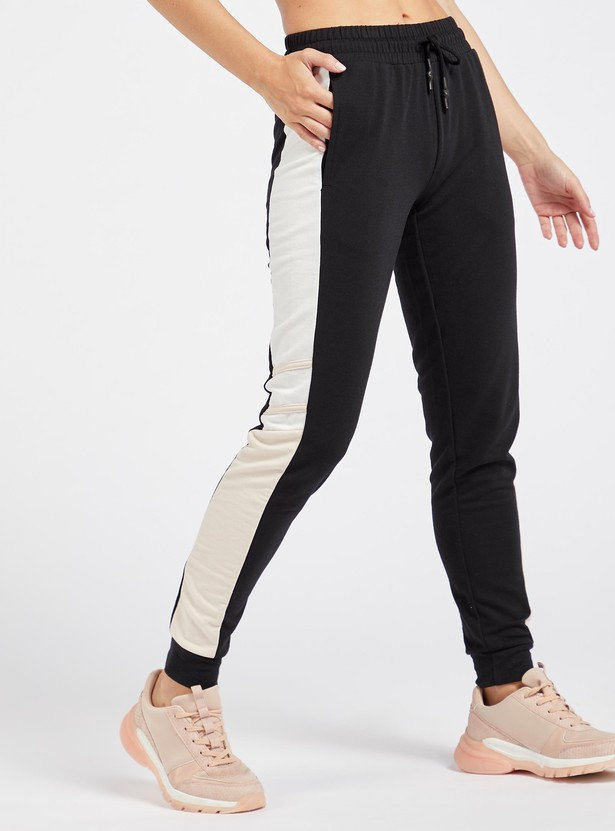Solid Colour Block Jog Pants with Drawstring