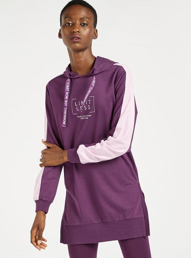 Printed Longline Sweat Dress with Hood and Long Sleeves