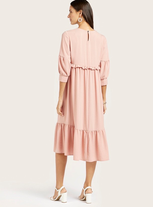 Solid Midi Maternity Dress with Ruffle Detail and Bishop Sleeves