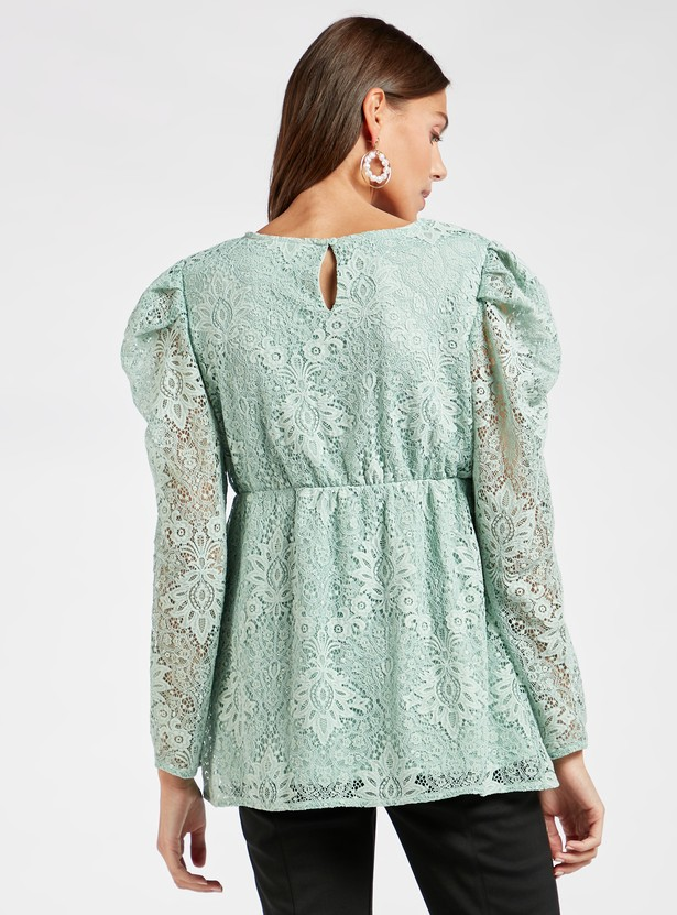 Maternity Lace Detail Top with Long Sleeves and Round Neck