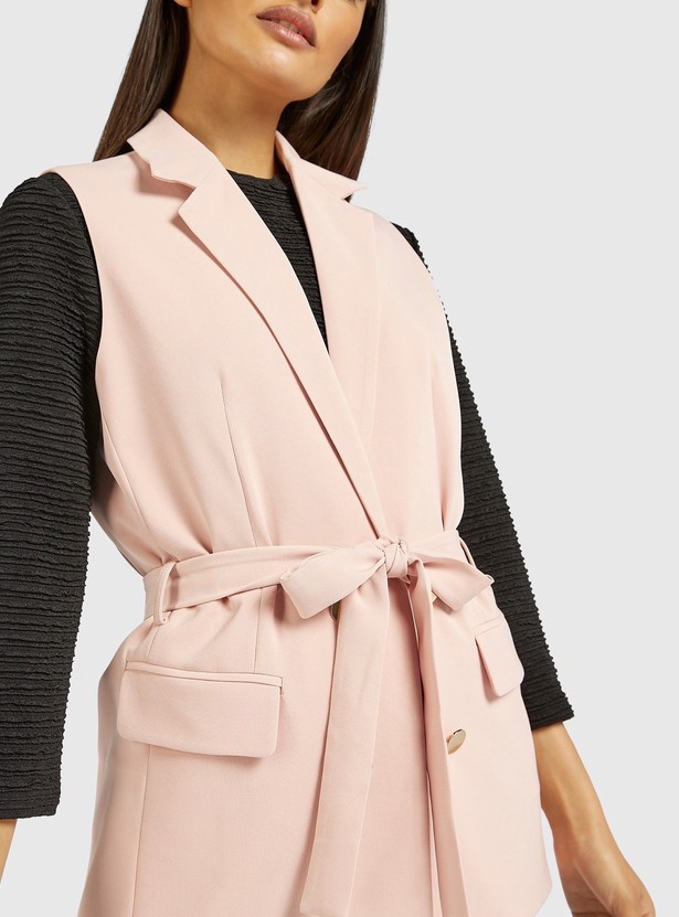 Solid Sleeveless Jacket with Tie-Ups and Button Closure