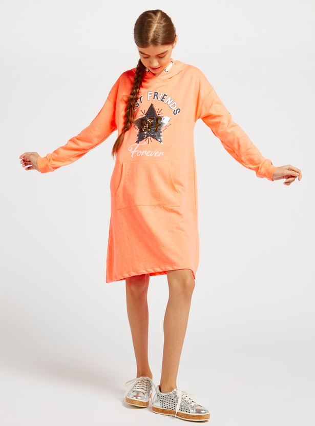Sequin Detail Mini Sweat Dress with Long Sleeves and Hood