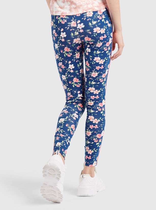 Skinny Fit All-Over Floral Print Leggings with Side Tape Detail