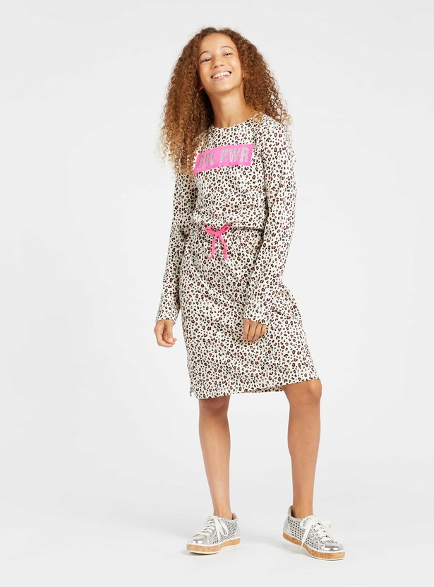 All-Over Leopard Print Knit Dress with Long Sleeves and Tie-Ups