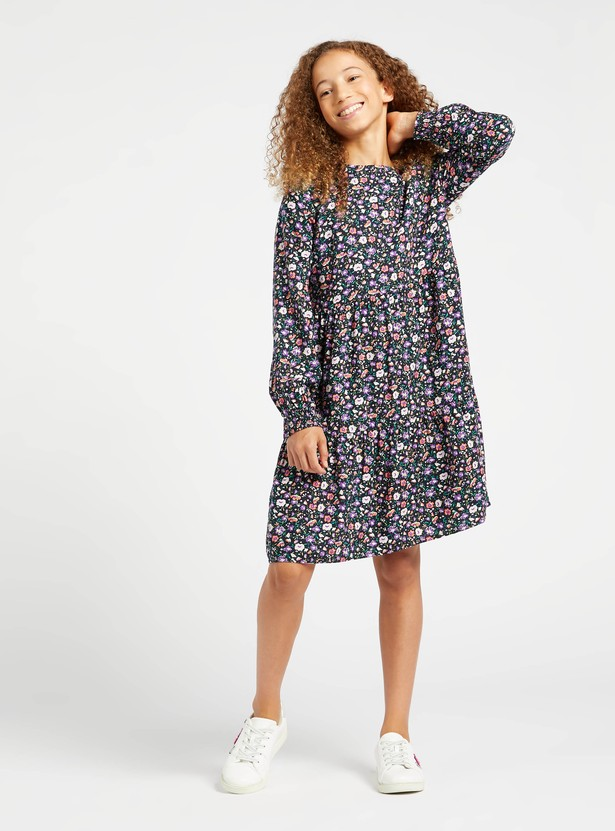 Floral Print Knee-Length Dress with Long Sleeves