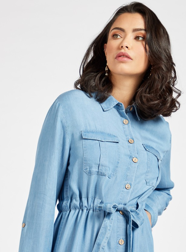 Denim Collared Midi Shirt Dress with Fabric Belt