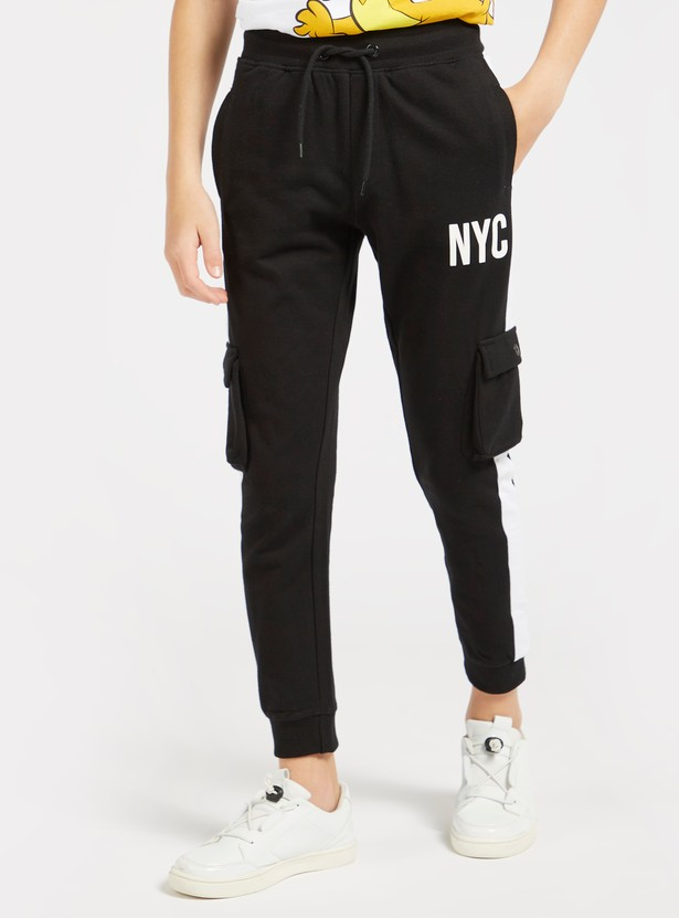 Text Print Jog Pants with Drawstring Closure