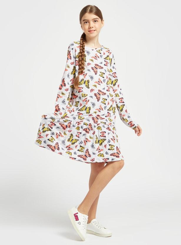 فستان بطبعات فراشة وياقة مستديرة وأكمام طويلة