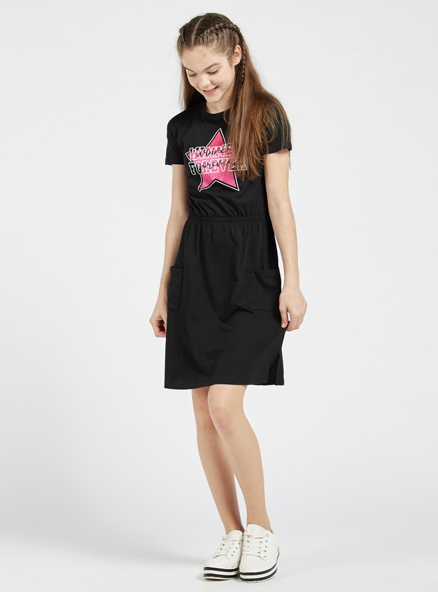 Printed Mini Dress with Short Sleeves and Pockets