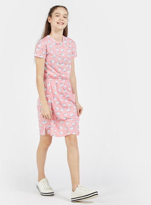 All-Over Print Knee Length Dress with Crew Neck and Short Sleeves