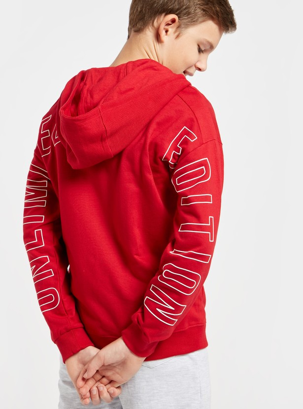 Typographic Print Jacket with Long Sleeves and Hood