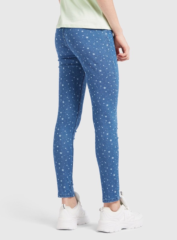 Star Print Ankle Length Jeggings with Elasticated Waistband