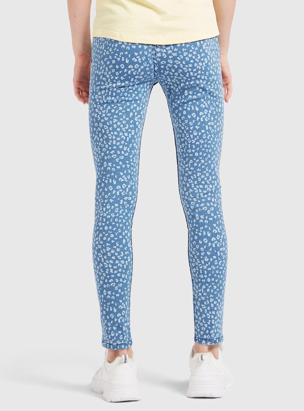 Leopard Print Ankle Length Jeggings with Elasticated Waistband