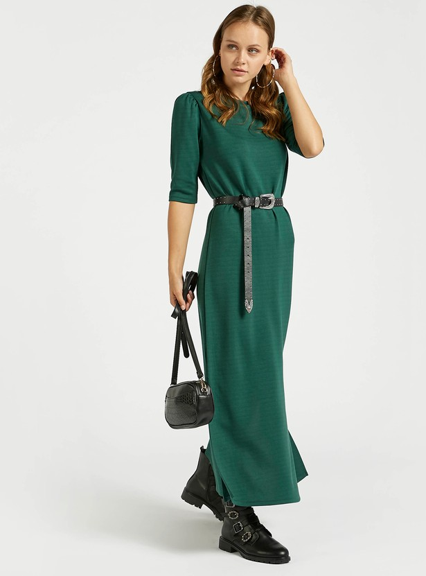 Solid Maxi Dress with Round Neck and Short Sleeves