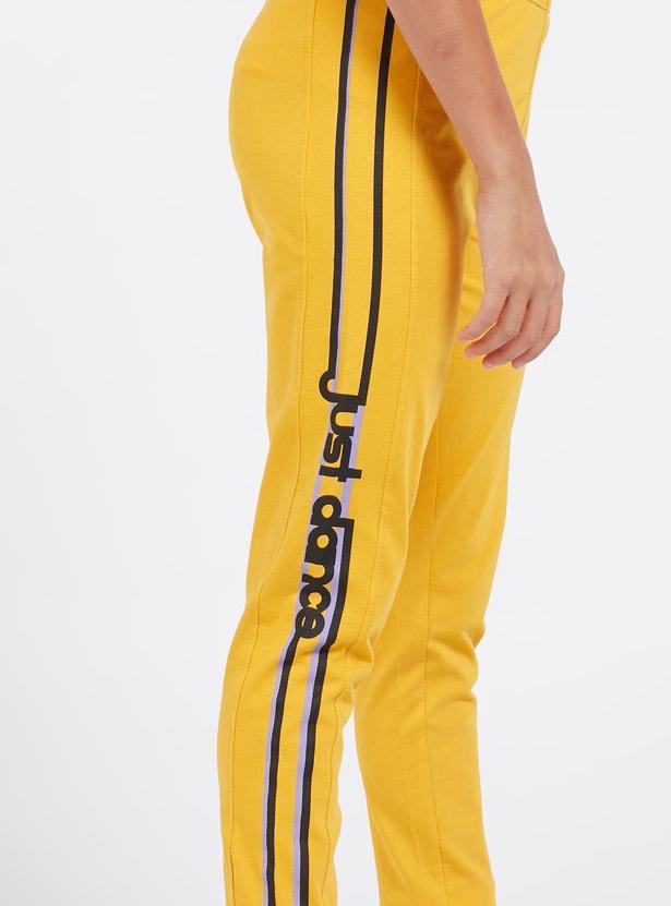 Full Length Printed Leggings with Side Stripe Detail