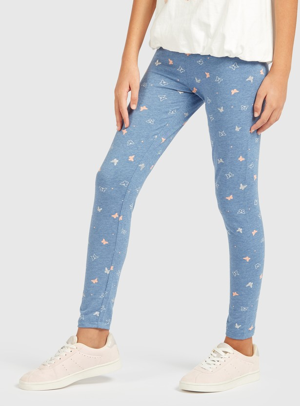 All-Over Butterfly Print Leggings with Elasticised Waistband