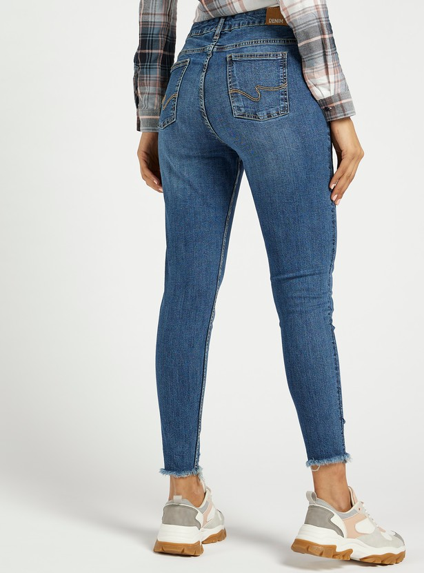 Super Skinny Fit Distressed High-Rise Cropped Jeans with Pocket Detail