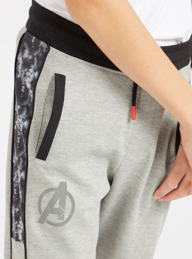 Avengers Graphic Print Jog Pants with Pockets and Drawstring Closure