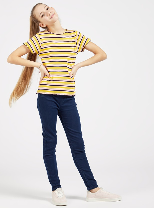 Striped Ribbed T-shirt with Round Neck and Short Sleeves